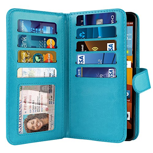 NEXTKIN LG G Stylo LS770 Case, Leather Dual Wallet Folio TPU Cover, 2 Large Pockets Double flap, Multi Card Slots Snap Button Strap For LG G Stylo LS770/G Vista 2 H740 2nd 2015 - New Teal (Case Color Vista G Lg)