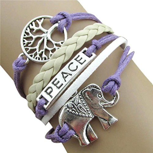 Bestpriceam Handmade Charms Peace Tree Elephant Knit Leather Rope Chain Bracelet Gift Purple