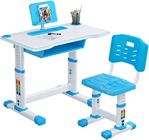 Liraly Height Adjustable Children Desk, Kids Study Desk and Chair Set, with Bookstand and Drawer, Ergonomic Student Writing Desk for Studying