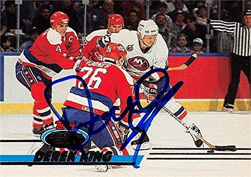 - Derek King autographed Hockey Card (New York Islanders, SC) 1993 Topps Stadium Club #215 - Hockey Slabbed Autographed Cards