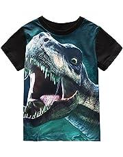 Little Boys T-Shirt Dinosaur T Rex Short Sleeve Crewneck Cotton Tee Shirt 3-8 Years