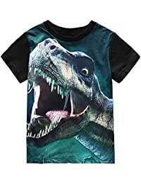 Toddler Boys' Short Sleeve T-Shirts Dinosaur Cotton Tops Tee For Kids Size 4 5 6 7 8 T
