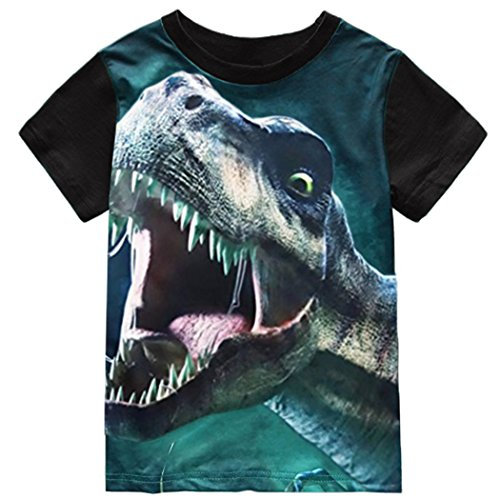 Little Boys T-Shirt Dinosaur T Rex Short Sleeve Crewneck Cotton Tee Shirt 3-8 Years ()