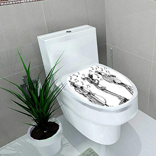 (Toilet Sticker Jazz Band Doodles Hand Drawn Jazz Band with a Trumpet Player Bassist Home Decor Applique Papers W15 x L17)