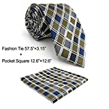 Shlax&Wing Checkered Blue Neckties Mens Ties Business Silk Jacquard Woven XL Skinny