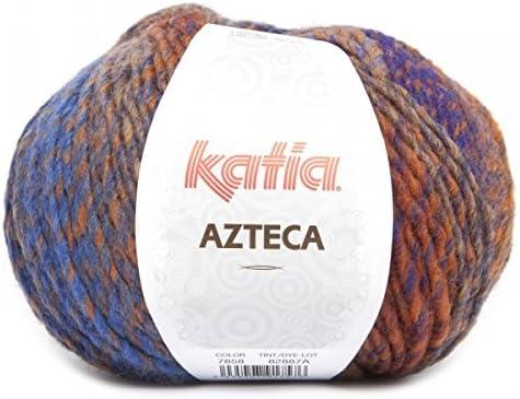 Laine AZTECA Katia 7858 Orange bleu roi