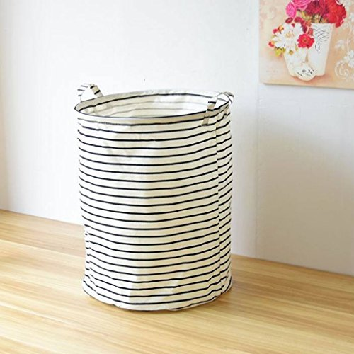 MuLuo Stripe Multi-function Stackable bags Storage Barrel Laundry Basket Toys Box with Handle Black stripes