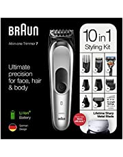 Beard Trimmer for Men Cordless Mustache Trimmer Hair Clippers 10 in 1 Grooming Trimmer Kit for Nose Ear Facial Hair Precision Trimmer Body Groomer Waterproof USB Rechargeable with Storage Dock (Black)