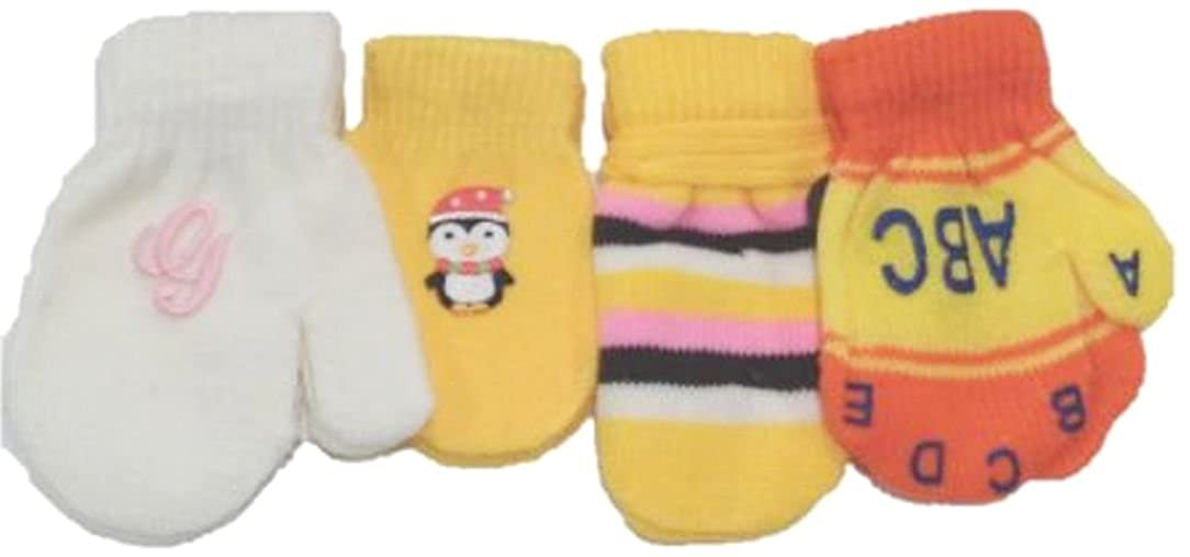 Gloves & Mittens Set of Four Pairs of One Size Magic Stretch Mittens for Infants Ages 3-12 Months Accessories