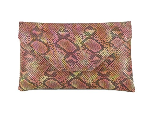 Snake Pink Handbag - Loni Womens Stylish Large Envelope Faux Snakeskin Clutch Bag/Shoulder Bag in Pink Beige Tan