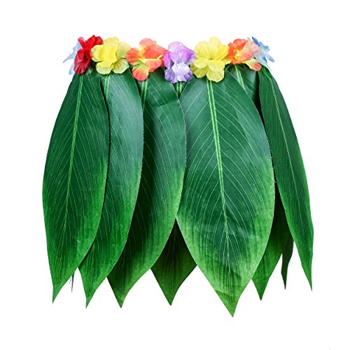 Ti Leaf Hula Skirt Hawaiian Leaf Skirt Green Grass Skirt with Artificial Hibiscus Flowers for Beach,Luau Party Supplies(39in waist15in Length) ()