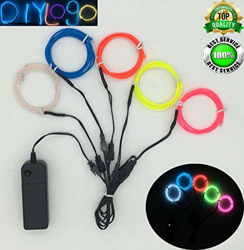 ShineWorld EL Wire Kit 5 by 1Meter, Portable Neon Light El Wire with Battery Pack for DIY Halloween Christmas Party Decoration (Blue White Pink Red Limegreen) ()