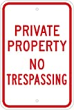"Brady 18"" Height, 12"" Width, B-959 Reflective Aluminum, Red On Reflective White Color Standard Traffic Signs, Legend ""Private Property No Trespassing"""