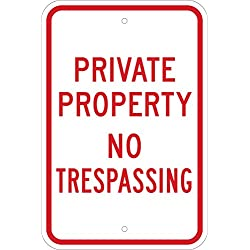 "Brady ""Private Property No Trespassing"" Sign - 18"" Height, 12"" Width - B-959 Reflective Aluminum, Red On Reflective White Color Standard Traffic Signs (80106)"