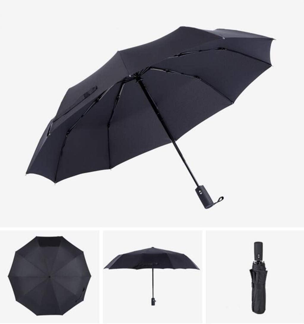 Color : Blue HongTeng Umbrella Automatic Tri Fold Windproof Strong Men and Women Sunscreen Scrub Handle Business
