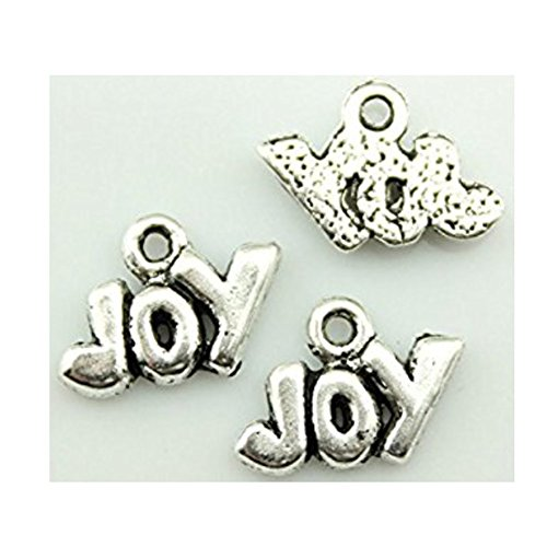 50pcs 13¡Á11mm Joy Charms Antique Silver Tone Pendant ()