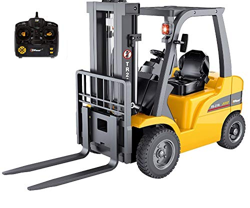 (Top Race Jumbo Remote Control Forklift 13 Inch Tall, 8 Channel Full Functional Professional RC Forklift Construction Toys, High Powered Motors, 1:10 Scale - Heavy Metal - (TR-216))