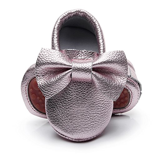 HONGTEYA Leather Baby Moccasins Hard Soled Tassel Crib Toddler Shoes for Boys and Girls (12-18 Months/5.12inch, Bow-Rose ()