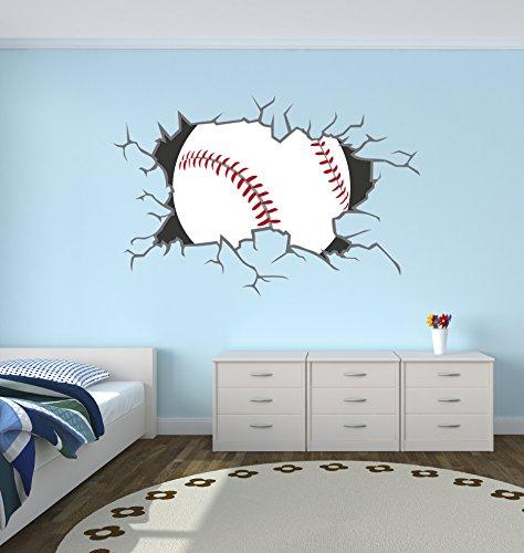 West Mountain Baseball Breaking Wall Decal Home Decor Art Vinyl Sticker ()