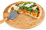 Kesper Pizza Plate With Pizza Cutter 12.60'' of Bamboo, Brown