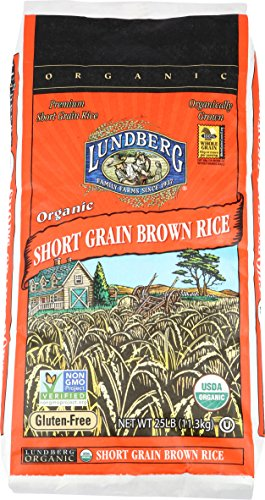 Lundberg Short Grain Brown Rice, 25 Pounds, Organic (Packaging May Vary) Chips 25 Lb Case
