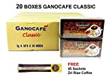 20 Boxes of Gano Café Classic Coffee 30 sachets/box, Instant Black Coffee Enriched with Ganoderma Lucidum Extract