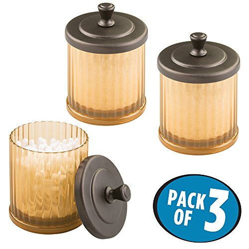 mDesign Bathroom Vanity Storage Organizer Canister Jars for Q tips, Cotton Swabs, Cotton Rounds, Cotton Balls, Makeup Sponges, Bath Salts - Pack of 3, Amber/Bronze