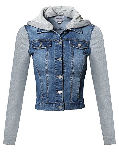 (Awesome21 Casual Button Down Stretch Denim Jacket with Detachable Hoodie Blue Size M)