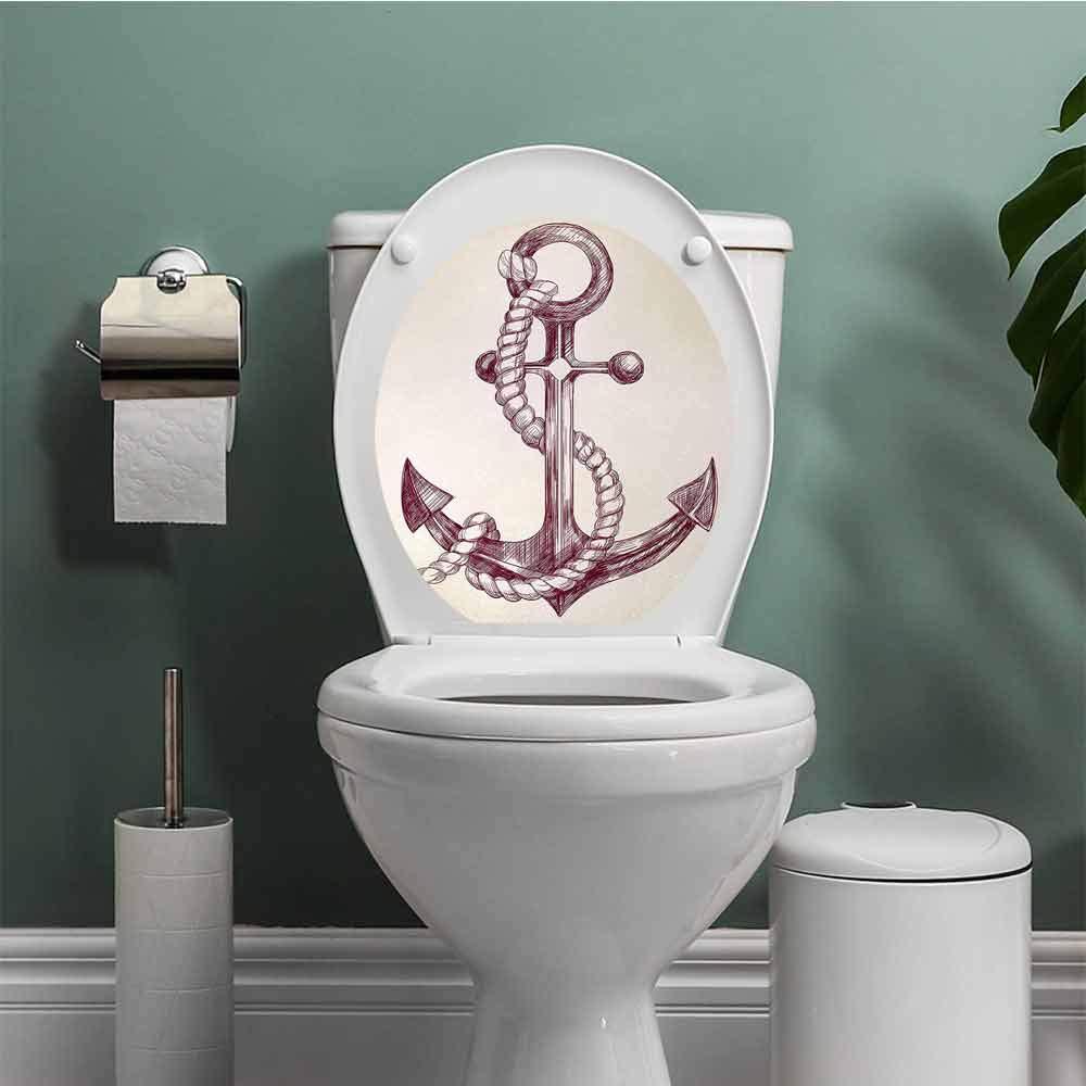 RUGSMATHOME Anchor Bathroom Wall Stickers Toilet Home Decoration Realistic Hand Drawn Sketch Marine Vintage Design Sails Yacht Boat Cruise Bathroom Decal Dark Mauve Cream W12XL14 INCH by RUGSMATHOME