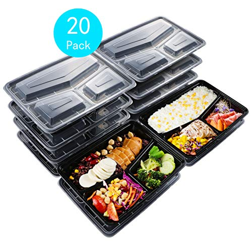 Sable SA-PS055 Meal Prep Containers 20 Pack (33 oz), 3 Compartment Leak-Proof Reusable Bento Box, BPA Free and FDA Registered, Heat and Cold Resistant, Stackab, Medium, Black