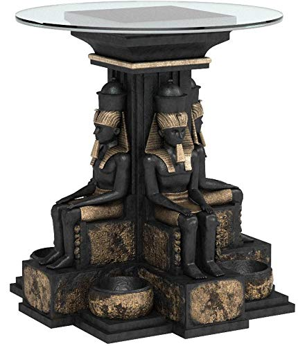 - Design Toscano Ramses II Egyptian Sculptural Glass-Topped Table