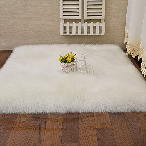 Square White Sheepskin Chair Seat Cover Soft Carpet Hairy Dense Leather Fur Thick Lush Area Rug