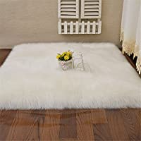 Square White Sheepskin Chair Seat Cover Soft Carpet Hairy Dense Leather Fur Thick Lush Area Rugs For Livingroom,4ftx4ft