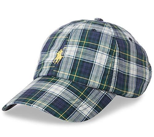 Polo Ralph Lauren Men`s Cotton Chino Baseball Cap (Tartan(6001)/Yellow, One Size)