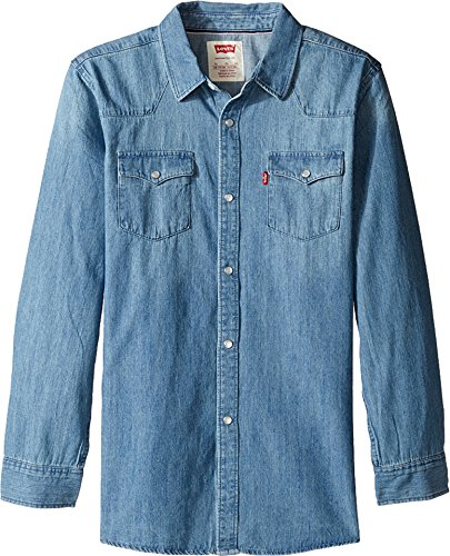 Levi's Boys' Big Denim Western Shirt, Vintage Stone, Medium