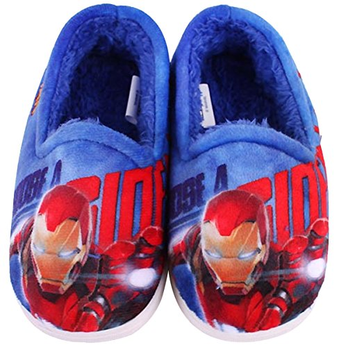 Marvel Avengers Iron Man Flash Beam Boys Warm Indoor Slipper Blue Shoes (Parallel Import/Generic Product) (8 M US - Package International Usps