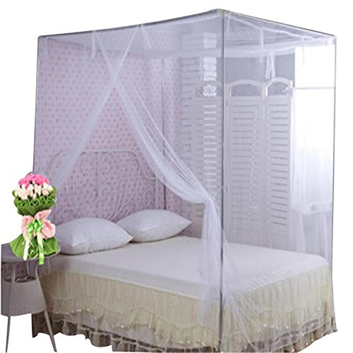 Vibola Bed Canopy Bed Canopy Mosquito Net Queen King Size Netting Mosquito Tent Canopy moustiquaire (White) (Bed Tent Bunk Universal For)