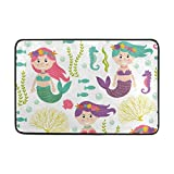 Chen Miranda Mermaid Sea Pattern Door Mat Carpets Indoor Outdoor Area Rugs Office Door Mat Non-slip for Bedroom Bathroom Living Room Kitchen Home Decorative 23.6x15.7 inch Lightweight