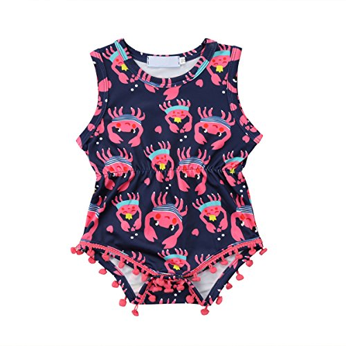 Biayxms Infant Kids Baby Girls Sleeveless Tassel Pom Crab Cartoon Romper Outfits (18-24 Months)