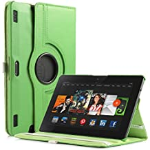 ULAK PU Leather 360 Degree Rotating Stand Case Cover for Amazon Kindle Fire HDX 8.9 Inch - 2013 Released with Auto Sleep/Wake Feature (Green)