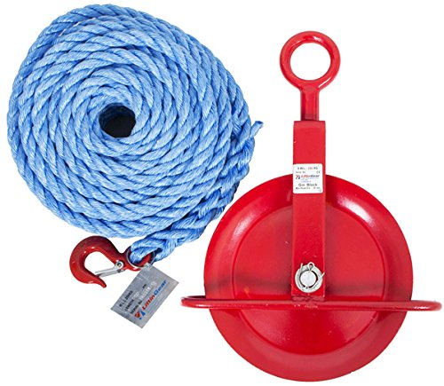 LiftinGear 250kg Gin Wheel Scaffolding Roofing Pulley with 20mtr 18mm Rope SafetyLiftinGear