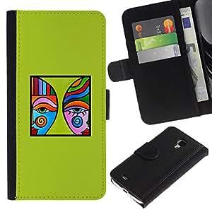 All Phone Most Case / Oferta Especial Cáscara Funda de cuero Monedero Cubierta de proteccion Caso / Wallet Case for Samsung Galaxy S4 Mini i9190 // arte verde moderna del cartel minimalista azul