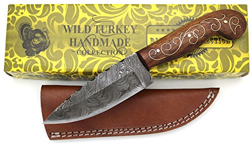 Mahogany Wood Inlaid Rich - Wild Turkey Handmade Damascus Steel Collection Full Tang Brass Designed Wood Handle Fixed Blade Knife w/ Leather Sheath Outdoors Hunting Camping Fishing