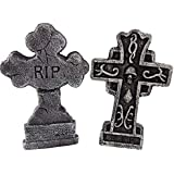 Sunstar RIP Tombstone Halloween Decorations Home Decor Cross Headstone 14 Inch Stands Included, Set of 2