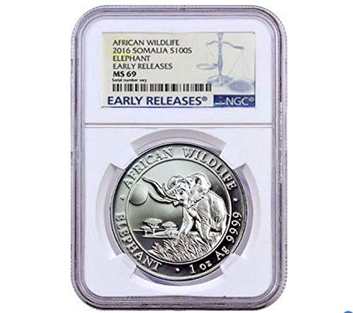 2016 SO 2016 1OZ SOMALIAN ELEPHANT .9999 SILVER COIN 100 Shillings MS 69 Early Release NGC