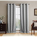 """HLC.ME Lattice Thermal Room Darkening Energy Efficient Blackout Curtains for Bedroom - Set of 2 - 108"""" inch Long (Light Grey)"""