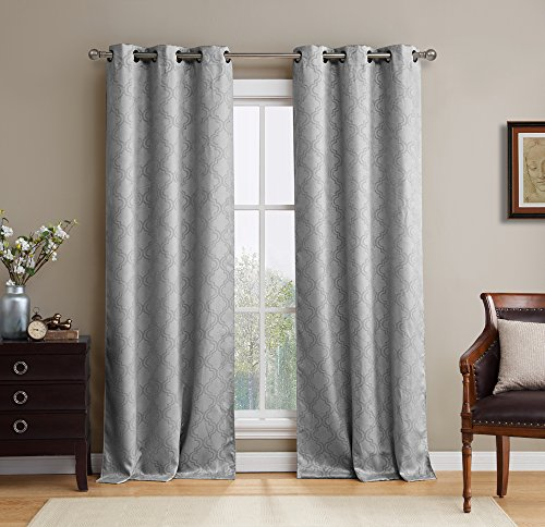 HLC.ME Lattice Thermal Room Darkening Energy Efficient Blackout Curtains for Bedroom - Set of 2 - 96