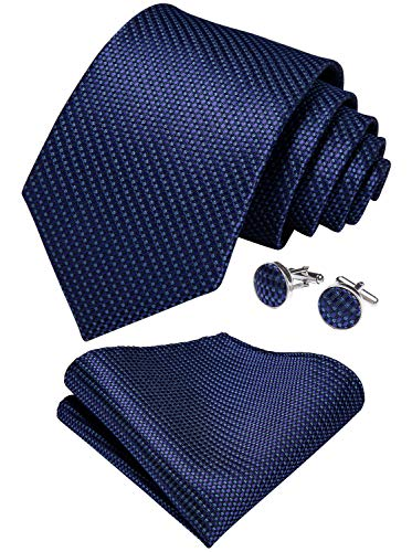 DiBanGu Mens Navy Blue Tie Silk Solid Necktie Pocket Square Cufflink Formal Set Business