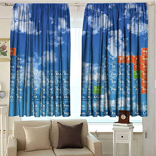DuckBaby Science Simple Curtain Clear Open Sky with Clouds and Chemistry Table for Kids Smart Student Print Suitable for Bedroom Living Room Study, etc. W72 xL45 Blue and White (The Study Of The Chemistry Of Living Things)