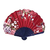 uxcell® Blooming Floral Pattern Bamboo Frame Fabric Ladies Summer Party Decor Folding Hand Fan Burgundy